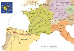 Les chemins de Saint Jacques de Compostelle en Europe